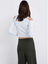 White Open Shoulder High Neck Knit Cropped T Shirt