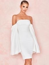 Boat Neck Split Long Sleeve White Ladies Dress