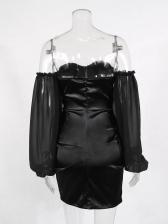 Boat Neck Lantern Sleeve Black Sheath Dress