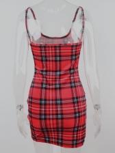 Hot Sale Red Plaid Sleeveless Velvet Short Dress