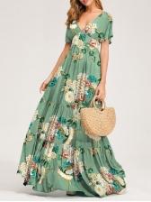 V Neck Back Tie Print Maxi Dress