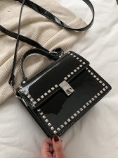 Solid Rivets Patent Leather Square Shoulder Bags