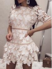 Elegant Overlay Short Sleeve Lace Dress