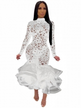See Through Gauze Patchwork Lace Dress