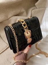 Golden Chain Stone Grain Glossy Pu Shoulder Bags