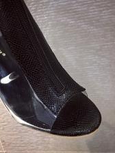 Clear Heel Snake Printed Patchwork Slingback Peep Toe Booties