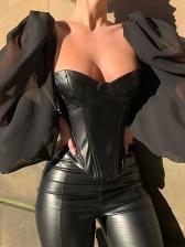 Trendy Gauze Puff Sleeve Leather Blouse