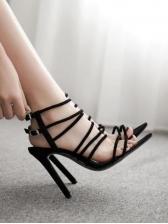 All Black Stiletto Strappy Sandals