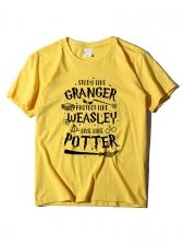Letter Printed Short Sleeve Crew Neck T-shirt
