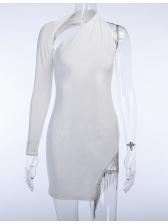 One Shoulder Tassel Decor Backless Black Dress