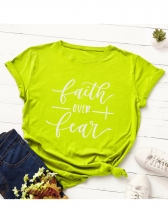 Plus Size Letter Printed Short Sleeve T Shirts