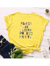 Cute Fruits Letter Pattern Cotton T Shirts