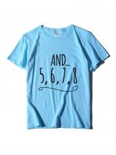 Simple Printed Short Sleeve Crew Neck T Shirt