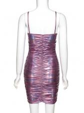 Fashion Draped Laser Sleeveless Bodycon Dress