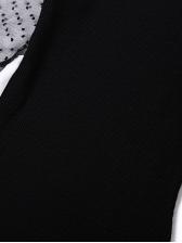 Mock Neck Puff Sleeve Dots Ladies Bodycon Dress