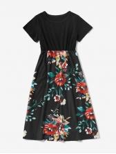 Short Sleeve Floral T-Shirt Dress For Family