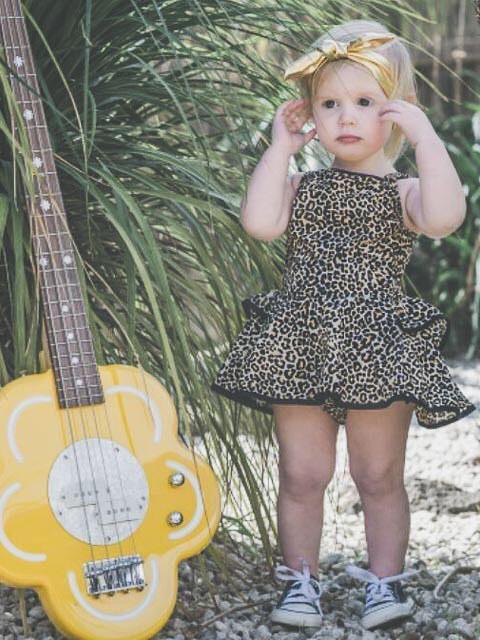 Ruffle Detail Sleeveless Leopard Print Girl Dress