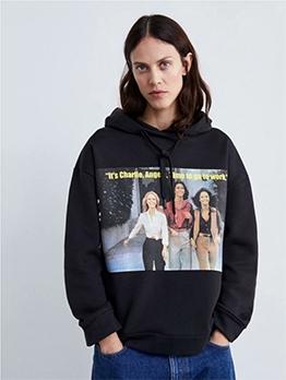 Winter Printed Long Sleeve Black Hoodie