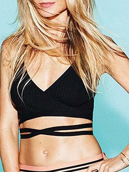 Solid Lace Up Cropped Cami