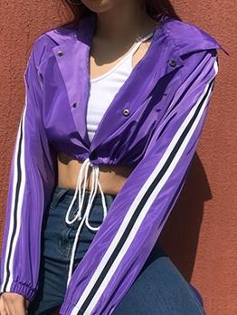 Short Striped Stitching Drawstring Ladies Coats