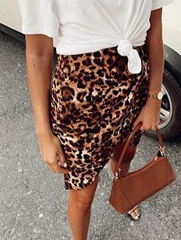 Irregular Hem Elastic Waist Leopard Print Skirt