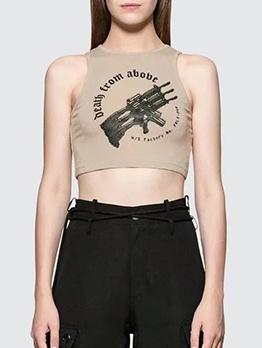 Khaki Gun Printed Cropped Tank Top