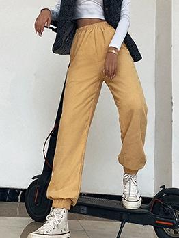 Casual Solid High Waist Corduroy Pants