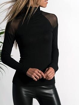 High Neck Black Long Sleeve T Shirts Women