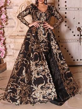 Large Hem V Neck Long Sleeve Evening Dress