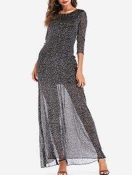 See Through Gauze Overlay Long Sleeve Maxi Dress