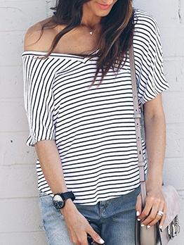 Casual V Neck Short Sleeve Striped T Shirt