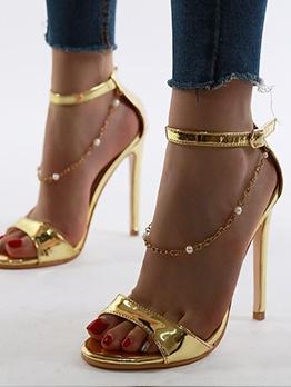 Pearl Chain Decor Open Toe Ankle Strap Sandals