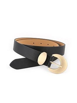 Faux Leather Solid Metal Buckle Wide Belt