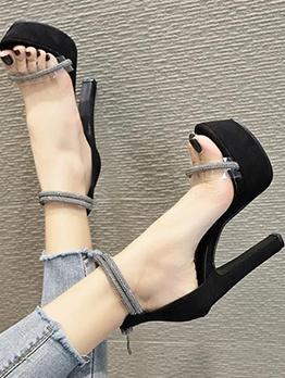 Patchwork Transparent Black Open Toe Platform Heels