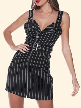 Modern Shoulder Strap Striped Summer Dresses