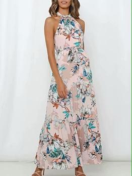 Flower Pattern Open Shoulder Wrap Maxi Dress