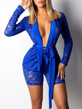 Solid Hollow Out Lace Two Piece Short Set