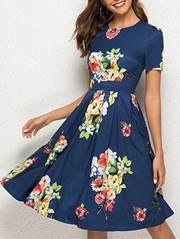 Crew Neck Flower Printing Casual Dresses