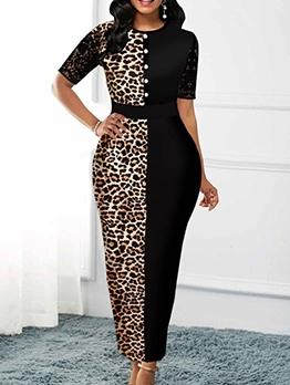 Leopard Patchwork Short Sleeve Plus Size Dress
