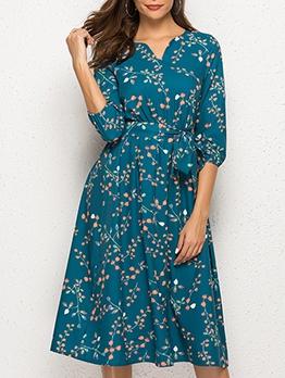 Leisure Leaves Pattern Long Sleeve Midi Dress