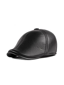 Winter Outdoor Solid Pu Beret Hat For Men