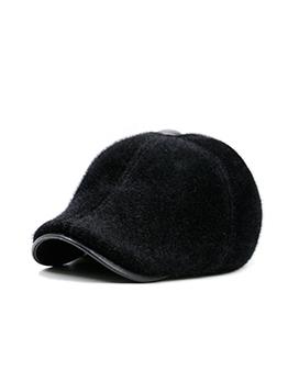 Hairy Warm Pure Color Men Beret Hat