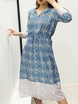Smart Waist V Neck Floral Midi Dress