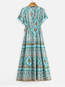 V Neck Smart Waist Floral Boho Maxi Dress