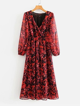 Deep V Neck Floral Red Maxi Dress For Women