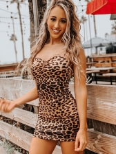 Sexy Leopard Crisscross Backless Sleeveless Mini Dress