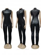 Mock Neck Sleeveless Side Tassel Leather Jumpsuit