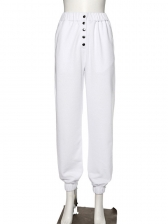 Solid High Waist Button Up Casual Sweatpants