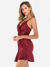 Leisure Ruched v Neck Sleeveless Mini Dress