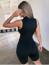 Front Zipper Skinny All Black Sleeveless Romper